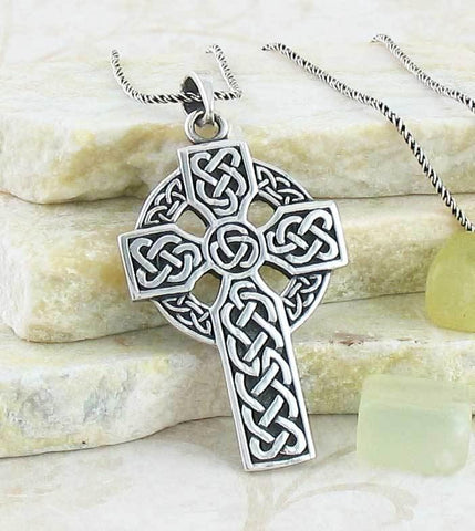 Celtic Cross Necklace in Sterling Silver