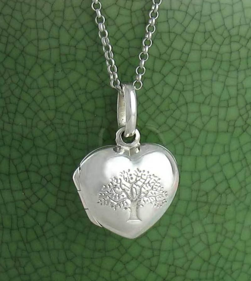 Little Puffed Heart Embossed Tree of Life Locket Necklace - woot & hammy