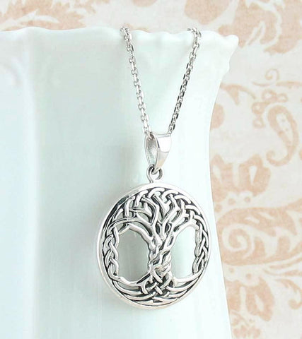 Intricate Celtic Knot Tree of Life Necklace in Sterling Silver