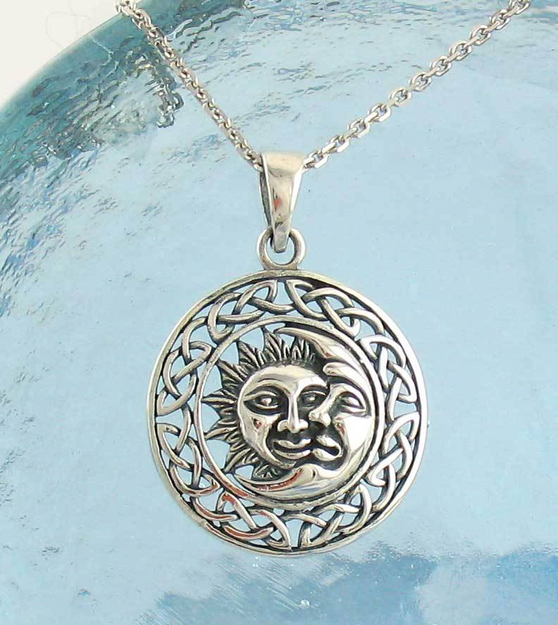Rustic Sun and Moon Necklace with Celtic Knot Border in Sterling Silver