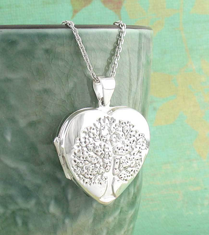 Heart-Shaped Tree of Life Locket Necklace in Sterling Silver