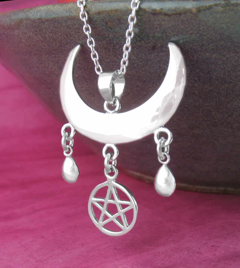 Moon Goddess Blessing With Pentacle and Teardrops Necklace | woot & hammy thoughtful jewelry