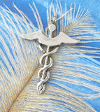 Winged Caduceus Pendant In Pewter With Blue Swarovski Crystal | Woot & Hammy