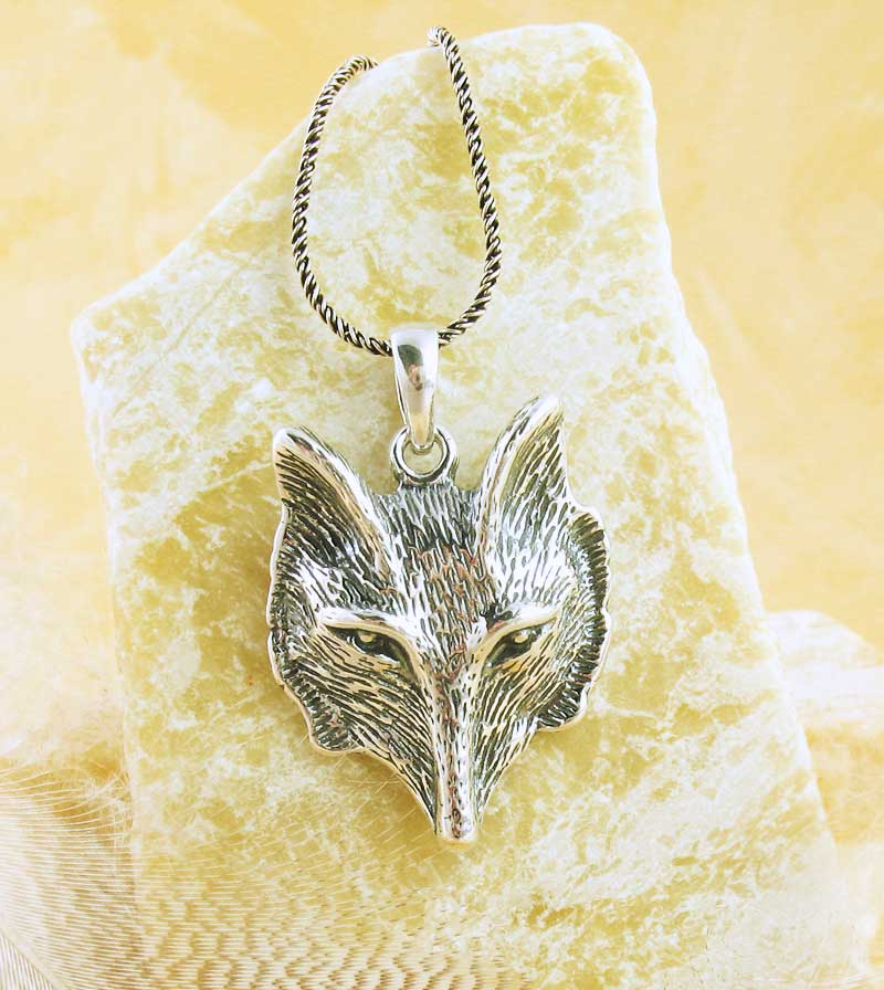 Wolf Head Spirit Animal Necklace Werewolf Coyote Howling Detailed Sterling Silver