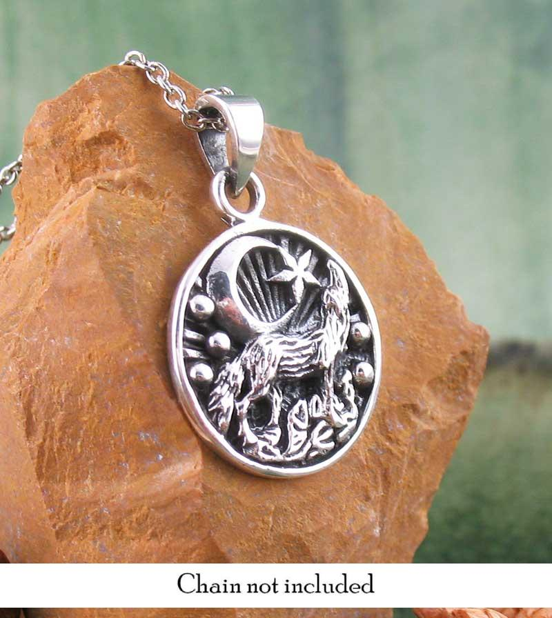 Desert Wolf Howling at the Moon Small Medallion Necklace Sterling Silver