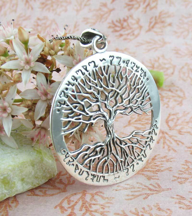 Theban Yggdrasil Tree of Life Necklace - As Above, So Below, As Within, So Without Sterling Silver