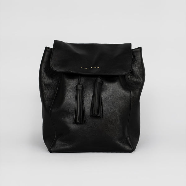 Tassel Drawstring Backpack (Black)