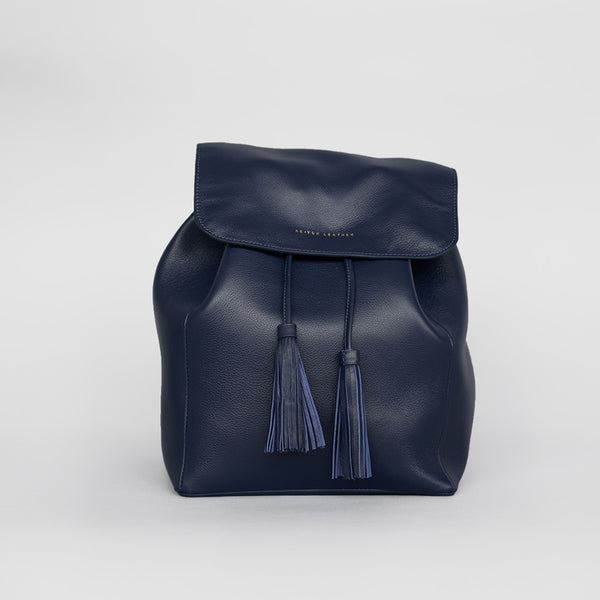 Tassel Drawstring Backpack (Navy)