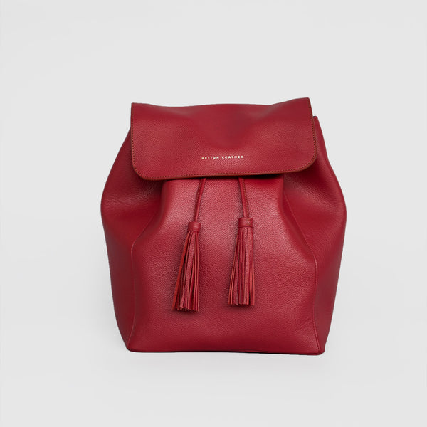 Tassel Drawstring Backpack (Red)