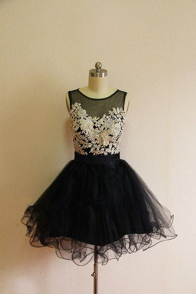 Black Lace Homecoming Dress,Black Homecoming Dresses,Short Black Homecoming Dress