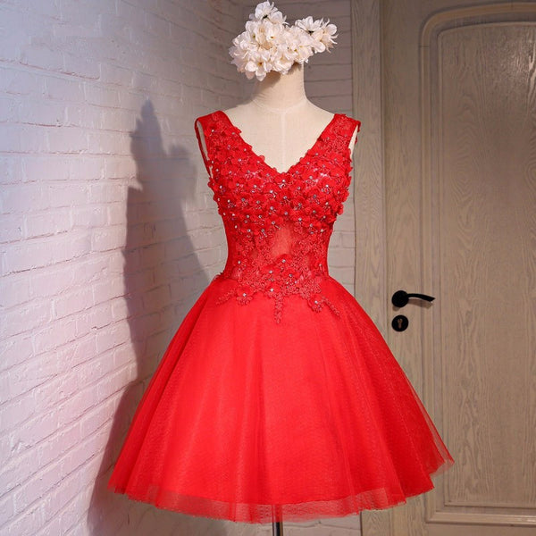 Appliques Red Bowknot Homecoming Dress, Tulle Homecoming Dress