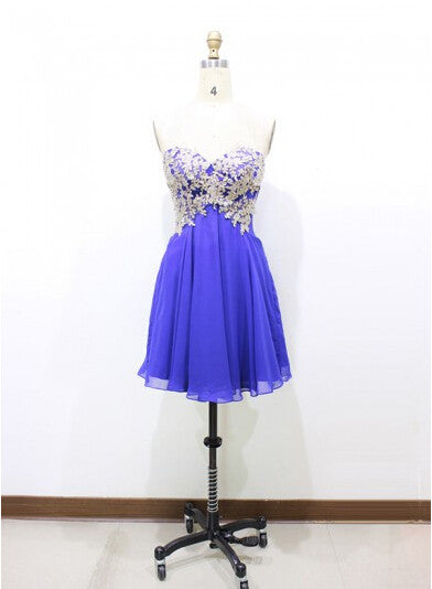 Blue Appliques Chiffon Homecoming Dresses,Strapless A-line Homecoming Dress