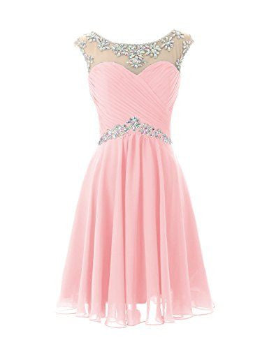 A Line Beading Chiffon Pink Homecoming Dress
