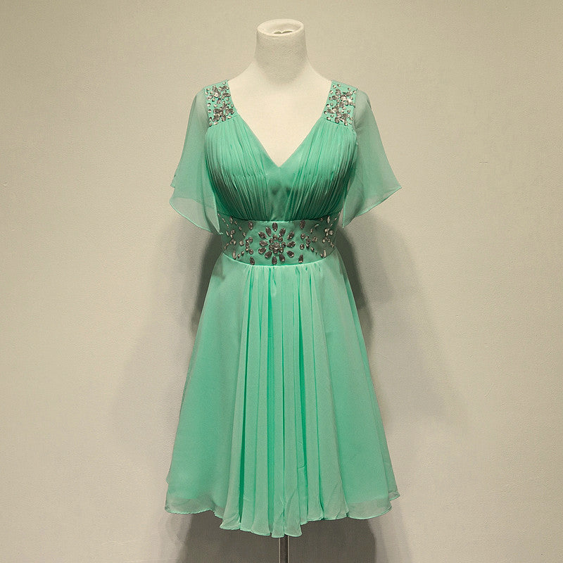 Mint Green Chiffon Homecoming Dress,Knee Length Beadings Homecoming Dress