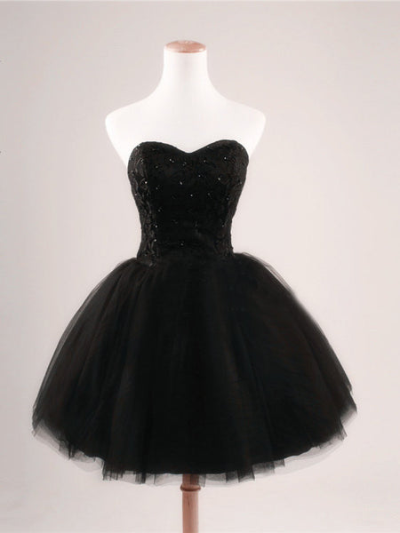 Black Strapless Homecoming Dress,Sweetheart Beadings Homecoming Dresses