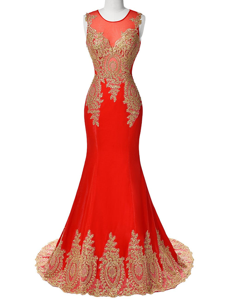 Applique Mermaid Prom Dress,Sleeveless Red Dresses,Evening Dress