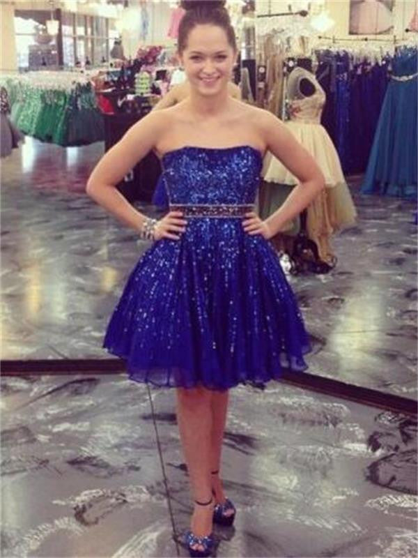 Chiffon Homecoming Dress, Navy Blue Sweetheart Homecoming Dress
