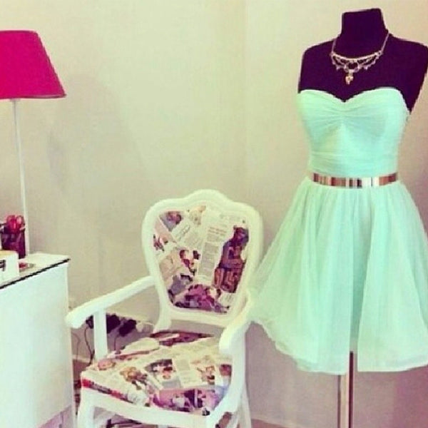 Sweet Mint Green Homecoming Dress,Knee Length Chiffon Homecoming Dress With Gold Belt