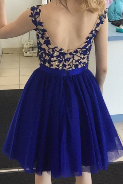 Blue Chiffon Homecoming Dresses,Open Back Homecoming Dresses