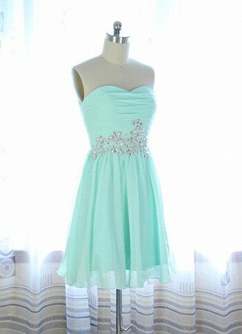 Chiffon Crystal Homecoming  Dresses, Strapless Mint Green Homecoming Dress