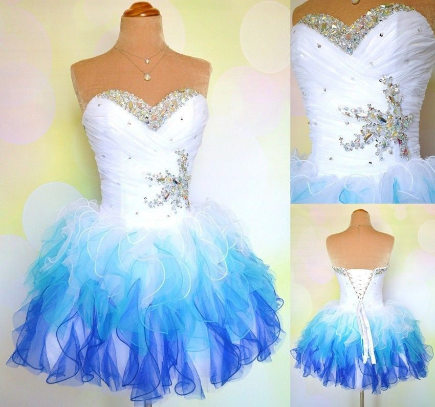 Blue Strapless Crystal Homecoming Dress,Sweetheart Mini Homecoming Dresses