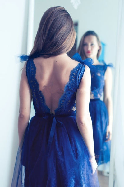 V-back Lace Homecoming Dress, Blue Sexy Homecoming Dresses