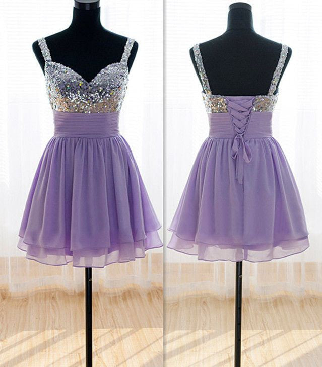 A Line Purple Homecoming Dress