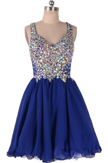 Dark Blue A-Line Crystal Homecoming Dress,Straps V-Neck Chiffon Homecoming Dresses