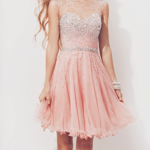 Pink Beading Homecoming Dresses, Sweet Lace Chiffon Homecoming Dress