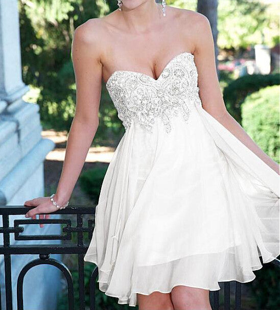White Strapless Homecoming Dresses, Sweet Mini Homcoming Dresses,Homecoming Dress