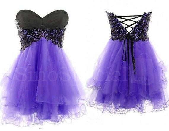 Black Lace Homecoming Dress,Strapless Purple Homecoming Dress,Homecoming Dresses