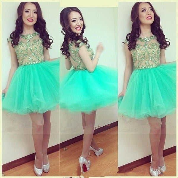 Green Lace Scoop Neck Homecoming Dresses,Sweet Mini Homecoming Dress