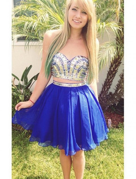 Two-piece Blue Homecoming Dress,Strapless Chiffon Homecoming Dresses