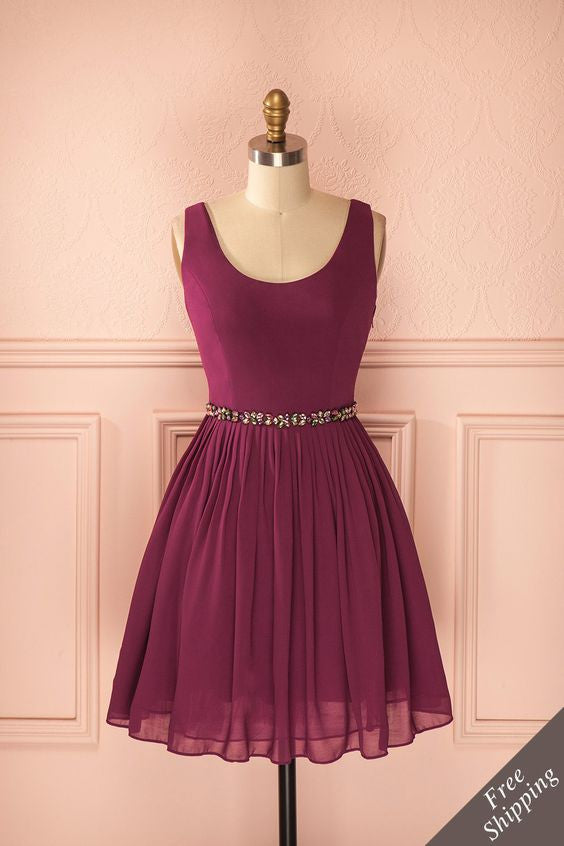 Crystal Homecoming Dress, Burgundy Chiffon Homecoming Dress