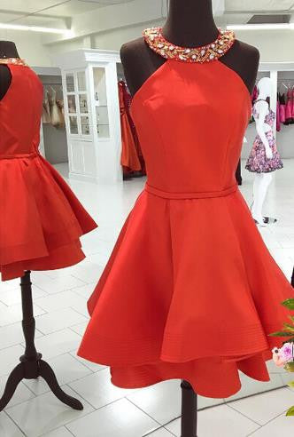 Short Red Homecoming Dress with Jewel Neck