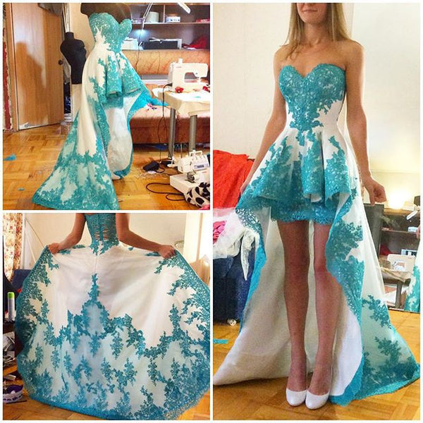 Blue Lace Applique Homecoming Dress,Sweet Hi-lo Homecoming Dresses