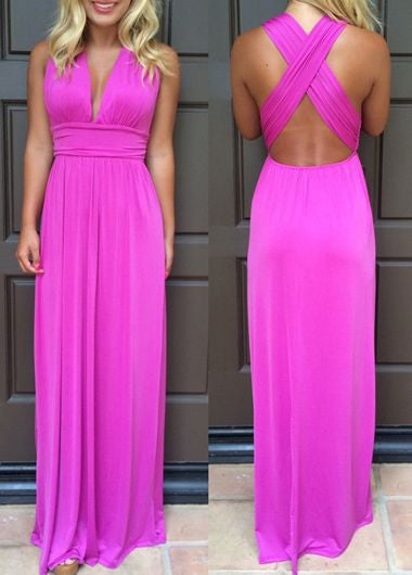 Cross Back Chiffon Prom Dress,Hot Pink Long Prom Dresses