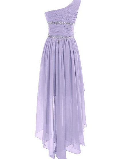 Hi-Lo Lavender Chiffon Homecoming Dress,Sweetheart One shoulder Homecoming Dresses