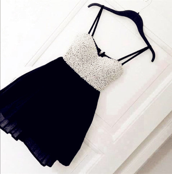 White And Black Sweetheart Homecoming Dresses ,Spaghetti straps Chiffon Homecoming Dress