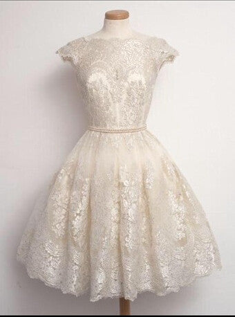 White Lace Homecoming Dresses, O-Neck  Homecoming Dresses, Homecoming Dress