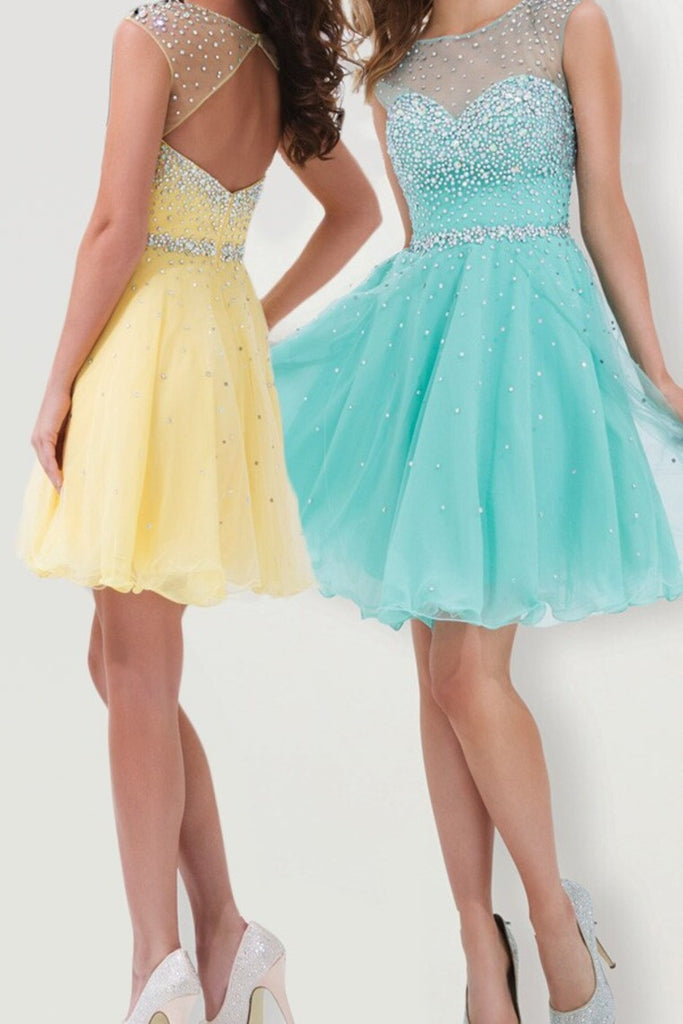 Yellow/Blue Homecoming Dresses, Crystals Beading Homecoming Dresses,Homecoming Dress