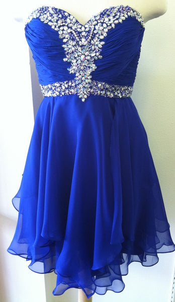 Blue Chiffon Beadings Homecoming Dress,Strapless Homecoming Dresses