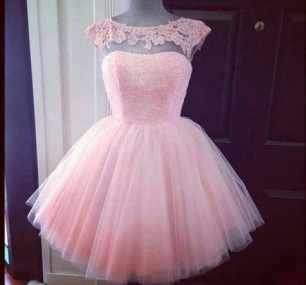 A Line Pink Homecoming Dresses, Scoop Lace Chiffon Homecoming Dress