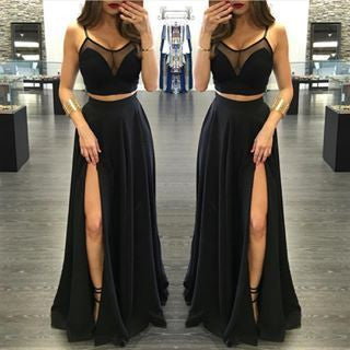 Two Pieces Black Prom Dress,Spaghetti Straps Prom Dresses,Evening Dresses