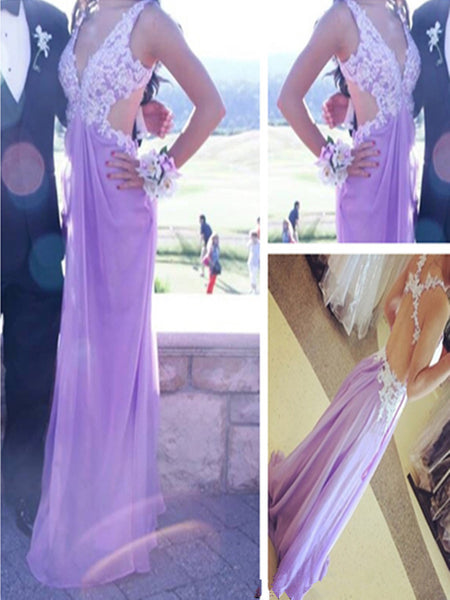 Backless Straps Prom Dresses,Lavender Prom Dress,Evening Dresses
