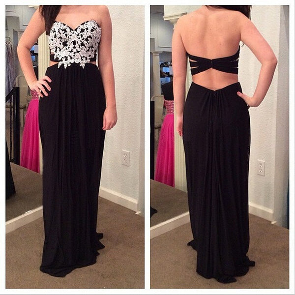 Backless Sweetheart Prom Dresses,Appliques Black Prom Dress,Evening Dresses