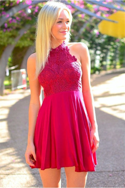 A-Line Mini Halter Lace Homecoming Dress