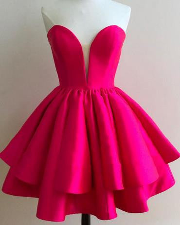 Short Hot Pink Strapless Homecoming Dress Party Dress