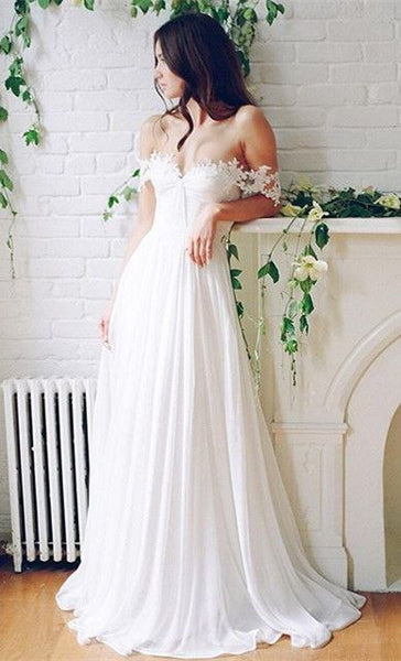 Ivory Chiffon Wedding Bridal Dress, Boho Wedding Dress with Lace Straps
