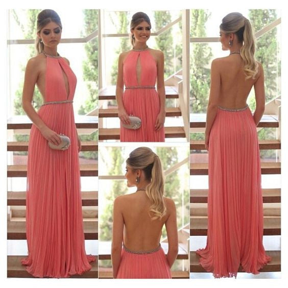 Halter Prom Dresses,Backless Sexy Prom Dress,Evening Dresses